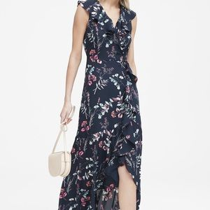 Banana Republic Floral Ruffle-Wrap Maxi Dress